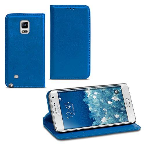 UC-Express Handy Tasche kompatibel für Samsung Galaxy Note Edge Hülle Flip Cover Schutzhülle Case Etui, Farben:Blau