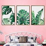 Set de 3 Impressions sur Toile Vert Tropical Plante Feuilles Poster Décoration Murale Nature Tableau Modern Affiches Deco Salon PTLS005-L