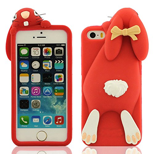 Douce Soft Prime Silicone Gel Protective Case Coque Housse Étui de Protection pour Apple iPhone SE iPhone 5 iPhone 5C iPhone 5S iPhone 5G - Style 1 - Rose vif, Belle Mignon Peu Lapin Conception Série  Rouge