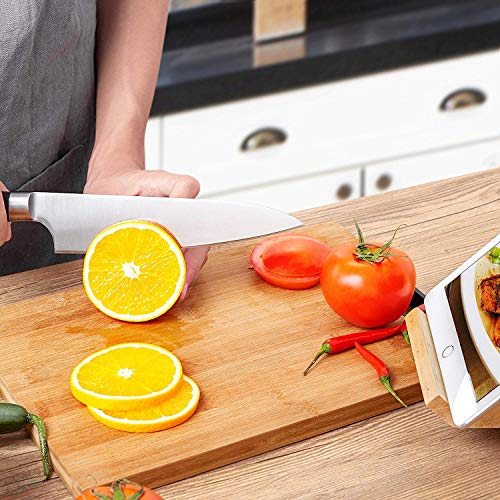Deik Messerblock Set, Messerset, Kochmesser, Edelstahl, Ergonomischer Holz-Griff, drehbarer Holzblock - 5