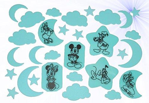 31 tlg. Set Glowing in the Dark Sticker - Disney Mickey Mouse Maus - leuchtet im Dunklen Glow Minnie