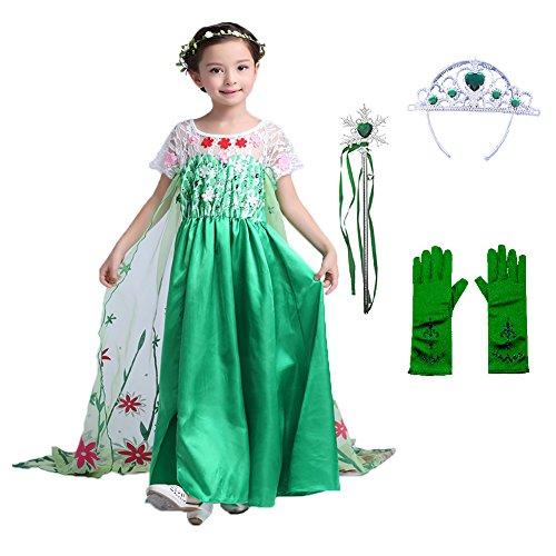 (LiUiMiY Mädchen Cosplay Prinzessin Kostüm Kleid - Sleeves Court Kostüm Karneval Halloween Geburtstag Weihnachten Geschenk für Kinder 2 3 4 5 6 7 8 9 Jahre)