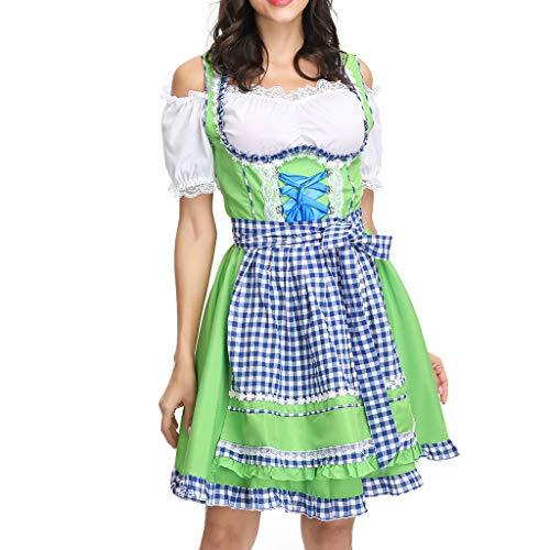 Kostüm Girl Bier Sexy - ZEZKT Maid Kleid Damen Dirndl Oktoberfest KostüM Stilvoll Partykleider Cosplay Kostüm Kleid Festival Kleider Sexy Kleid mit Bluse und Schürze Bier Festival Karneval Bayerische Traditionelle Kleidung
