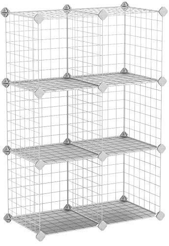 SONGMICS Armoire de Rangement, Étagère, Panneaux en Treillis, 6 Compartiments, Grande capacité, Maillet en Caoutchouc Offert, Dimensions 63 x 31 x 93 cm (L x l x H), Blanc LPI111W