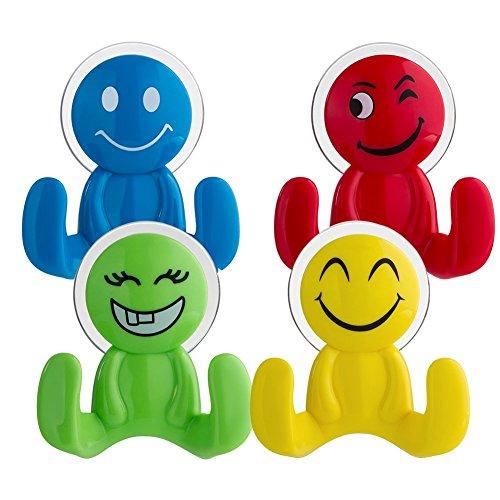Top Sky Mächtig Emoji Emoticon Saugnapf-Wandhaken Set (4 Stück)