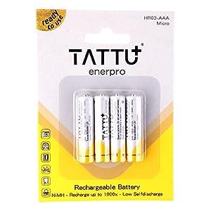 tattu Rechargeable NiMH AAA baterías de-Batería Pilas 800mAh 1.2V 4unidades recargables sin efecto memoria-inmediatamente listo para usar