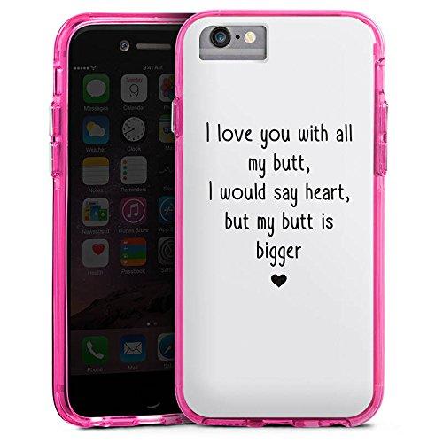 Apple iPhone 8 Bumper Hülle Bumper Case Glitzer Hülle Love Amour Liebe Bumper Case transparent pink