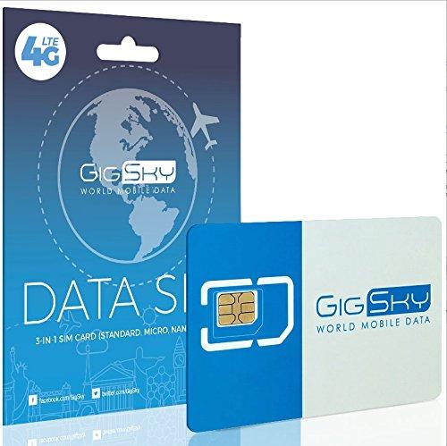 gigsky 4G LTE/3G Daten SIM Karte mit Zahlen Sie GO Daten Pläne für USA, Kanada, Mexiko, Europa, Asien, Nahen Osten, entriegelt und Afrika für iPhone, iPad, Android-Telefone, Hotspots und Tablets (Gsm Unlocked Smartphone-europa)