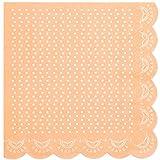 """20 Papier-Servietten mit Weißem Spitzen-Perlen-Muster und Wellenrand in Pastell-Orange """"White Lace"""""""
