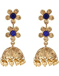 Voril Fashion Blue Color Alloy Dangle Earring For Women