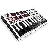 MPK Mini MKII LE White - Portables 25-Tasten-USB-MIDI-Keyboard mit 16 hintergrundbeleuchteten  Pads, 8 zuweisbaren Q-Link-Reglern und 4-Wege-Daumen-Joystick - Weiß, limitierte Ausgabe