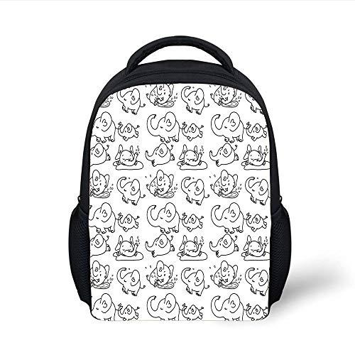 Kids School Backpack Nursery,Cute Black White Doodle Style Elephant Various States Running Sleeping Eating,Black White Plain Bookbag Travel Daypack