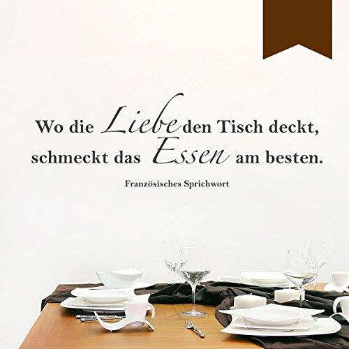 """WANDKINGS Wandtattoo """"Wo die Liebe den Tisch deckt, schmeckt das Essen am besten. (Französisches Sprichwort)"""" 120 x 41 cm - Braun - Wähle aus 5 Größen & 35 Farben"""