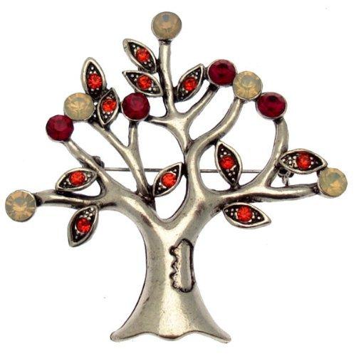 Groß, Rot, Kristall, Vintage Style Baum des Lebens, Silberfarben, Inklusive Geschenkbox