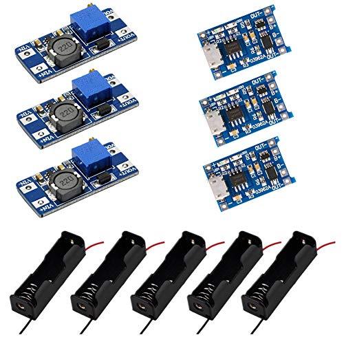IZOKEE 3 Stücke Lademodul mit Schutz + 3 Stücke MT3608 Einstellbar DC-DC Wandler Step Up Boost Converter + 5 Stücke Batteriehalter