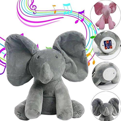 Preisvergleich Produktbild Goodsatar Elefant Baby Weiche Plüschtiere Singen Angefüllte Animierte Tier Kinder Puppe Geschenk (Grau)