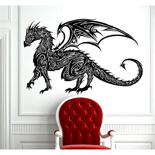 HLZLA Tribal Tattoo Klassische Chinesische Drachen Wandtattoo Dekor Wandkunst Vinyl Wand Tribal Dragon Art Decals 56x81 cm (Blume Tropische Tattoo)