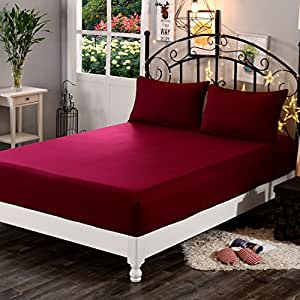 """Dream Care™ Waterproof Dustproof Terry Cotton Mattress Protector for King Size Bed - 72""""x72"""", Maroon"""