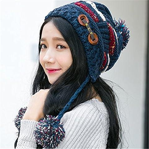 La mujer invierno cálido entretejido de lana Crochet Knit Hat chica Beret Ski Beanie Tapa de bola Azul marino