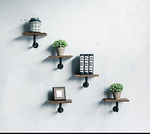 ZXZWJ Wandregal Loft Eisen Bücherschrank Retro Industrial Style Massivholz Wand Hängeschrank (5 Stück) Ausstellungsstand (5-regal Bücherregal Schmal)
