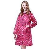 LOSORN ZPY Damen Regenmantel Raincoat mit Kapuze Mädchen Tupfen Wasserdicht Punkten Regenjacke (M, Rose)