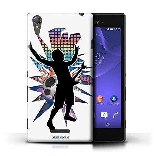 Kobalt® Imprimé Etui / Coque pour Sony Xperia T3 / Rock Dame Blanc conception / Série Rock Star Pose Rock n Roll Blanc