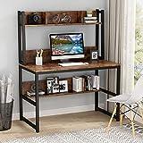 Tribesigns Computerbureau, bureau voor thuiskantoor met hok en planken voor kleine ruimte, 107cm x 50cm x140cm (Rustic Brown)