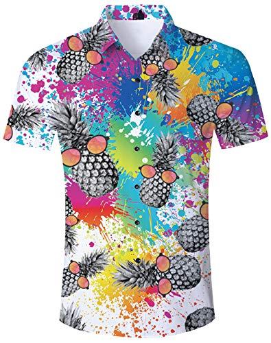 TUONROAD Shirt Herren Funny Tie Dye Ananas 3D Gedruckt Muster Bunte Funky Shirt Hemd Herren Kurzarm Sommerhemd Button Down Weiß Freizeithemden Strandhemd Hawaii Hemd Männer Jungen M