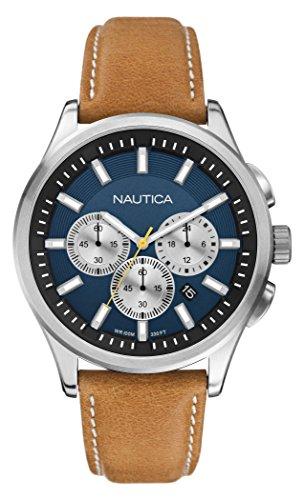 Nautica - A16695G - Montre Homme - Quartz Chronographe - Cadran Bleu - Bracelet Cuir Beige