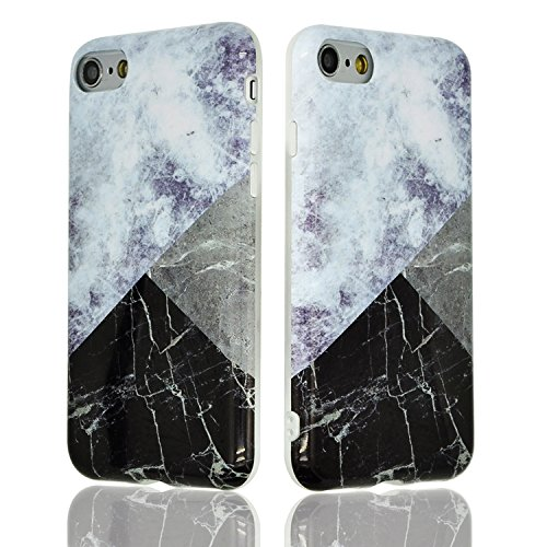 "Coque iPhone 6s Plus 5.5"" Souple Motif Marbre Grain, Sunroyal® Etui Housse en TPU Silicone Soft Case Arrière avec Marble Effect Naturel Back Cover Ultra Slim Shell de Protection Anti-Choc Bumper pour  Marbre 06"
