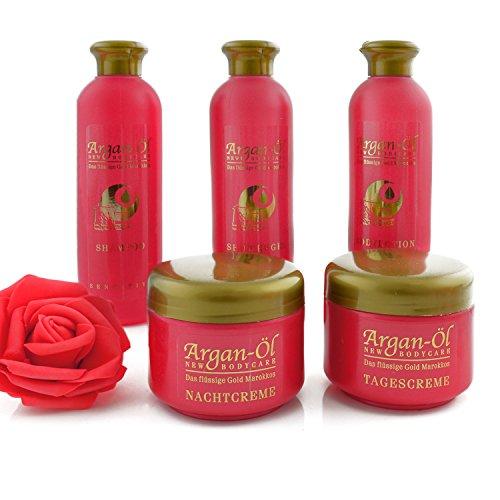 Pflegeset Argan Öl Set 5 tlg. Shampoo Bodylotion Creme Duschgel Pflegeprodukte Geschenkbox -