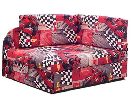 Ecksofa Kindersofa mit Schlaffunktion mit Kissen Bettkasten Links rechts Jugendcouch Rot bis 163cm