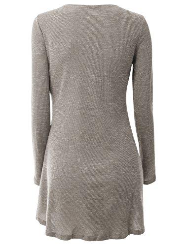 Jusfitsu Damen Strickjacke Cardigan lang strickjacke Casual Langarm Outwear Tops mit offenem V-Ausschnitt Dune