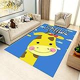 YCMXMY Home Alfombra De Diseño Dibujos Animados Cielo Azul Nube Blanca Jirafa Ligera Y Reversible Multifunciona Lavable Base De Caucho 200X300Cm