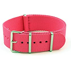 StrapsCo 22mm Pink 3-Ring G10 Ballistic Nylon Nato Zulu Watch Strap