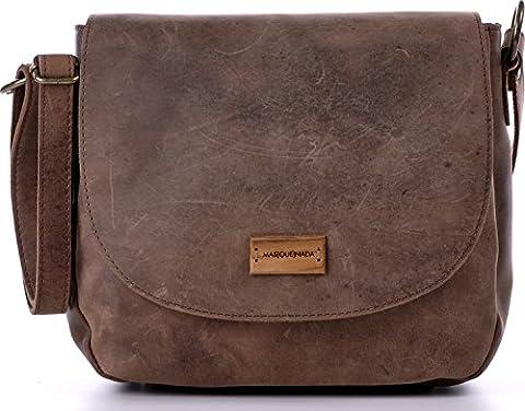 Umhängetasche aus Naturleder, Braun - Damen Handtasche mit Schnellverschluss - Schultertasche 26 x 22 x 8 cm - vintage Saddle Bag von