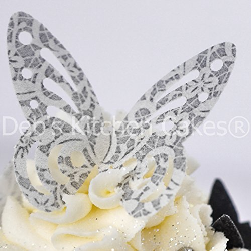 Silver and White Vintage Lace Design Butterfly Cake Decorations - Edible Wafer Butterflies - Cupcake Butterflies - Wedding Engagement Anniversary x 12
