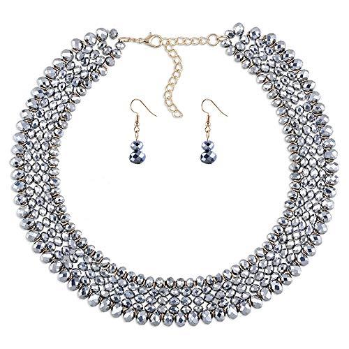 VLHVAQ DFRXK-JE Schmuckset Elegante 5-lagige Halskette und Ohrring-Set aus Acrylperlenkragen Schmuckset für Hochzeitsfeier (Farbe : Silber)