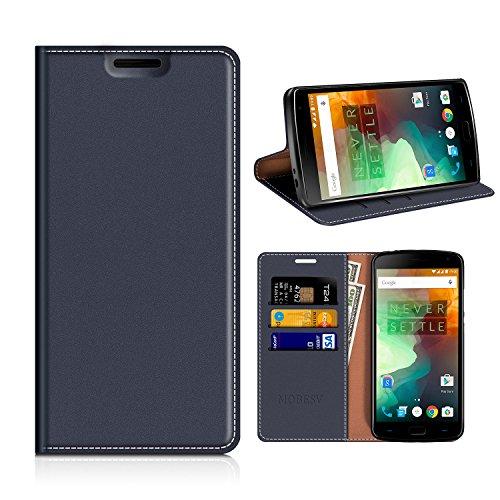 MOBESV OnePlus 2 Hülle Leder, Oneplus 2 Tasche Lederhülle/Wallet Case/Ledertasche Handyhülle/Schutzhülle mit Kartenfach für OnePlus 2 - Dunkel Blau