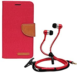 Aart Fancy Wallet Dairy Jeans Flip Case Cover for Redmi2S (Red) + Zipper Earphones/Hands free With Mic *Stylish Design* for all Mobiles- computers & laptops By Aart Store.