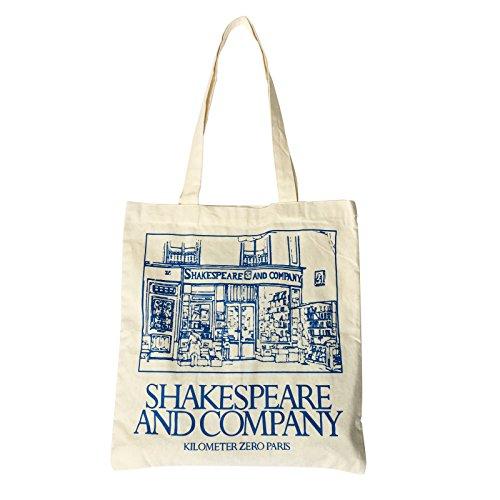 Strollway Zuhause sauber Weibliche Shakespeare und Company Brief Canvas Schultertasche Einfache Datei Shopping Girl Handtasche Blau -