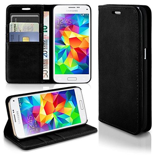 Caso casual per il Samsung Galaxy S5 Mini | caso conveniente con slot per schede e la funzione del basamento | Sacchetto di protezione di custodia OneFlow | Copertura di vibrazione in Onyx