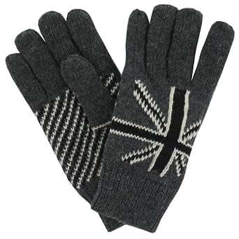 Union Jack Knitted Men's Gloves (Glv28)Grey Black Union Jack Glove - One Size