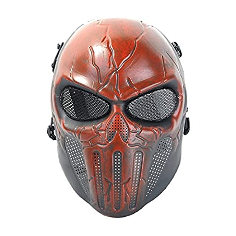 Tactical Airsoft Full Face Skull Skeleton Mask Paintball Game Cs War Game Protection Safety Guard for Outdoor Hunting Activity Costume Bar Theme Party Halloween Carnival