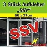 """Aufkleber Schriftzug - 3 Stück - """"SSV"""" (rot) Sommerschlussverkauf Schlussverkauf"""