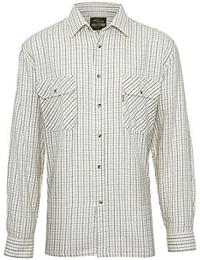 Camicia di flanella da uomo 100% cotone a quadri a maniche lunghe, stile casual country