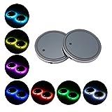 LED-Cup-Halter Matte, Umiwe Solar LED Tasse Coaster mit USB Wiederaufladbare Innendekoration Licht für Auto (7 Farben, 2 Packungen)