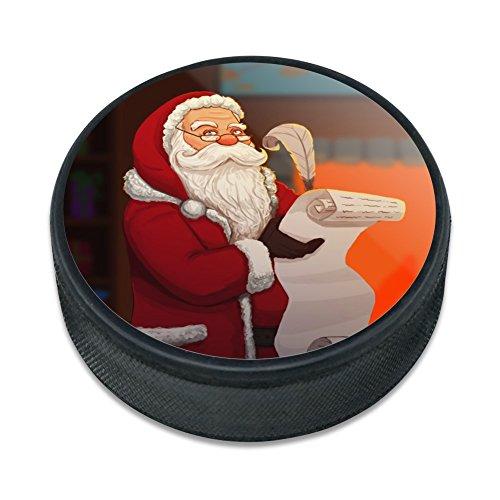 Santa Claus Weihnachten Liste Eishockey Puck (Gummi Santa Claus)