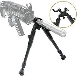 Bestsight Bipod à Pince pour carabines 15,2 à 22,9 cm Pliable Rigide en Hauteur réglable Pieds en Caoutchouc Support Universel en métal