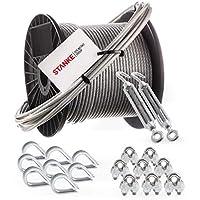 Seilwerk STANKE Cuerda de acero galvanizado en cubierta de PVC 5m, 2x tensor gancho-ojo M5, 8x guardacabo, 8x abrazadera - SET 5
